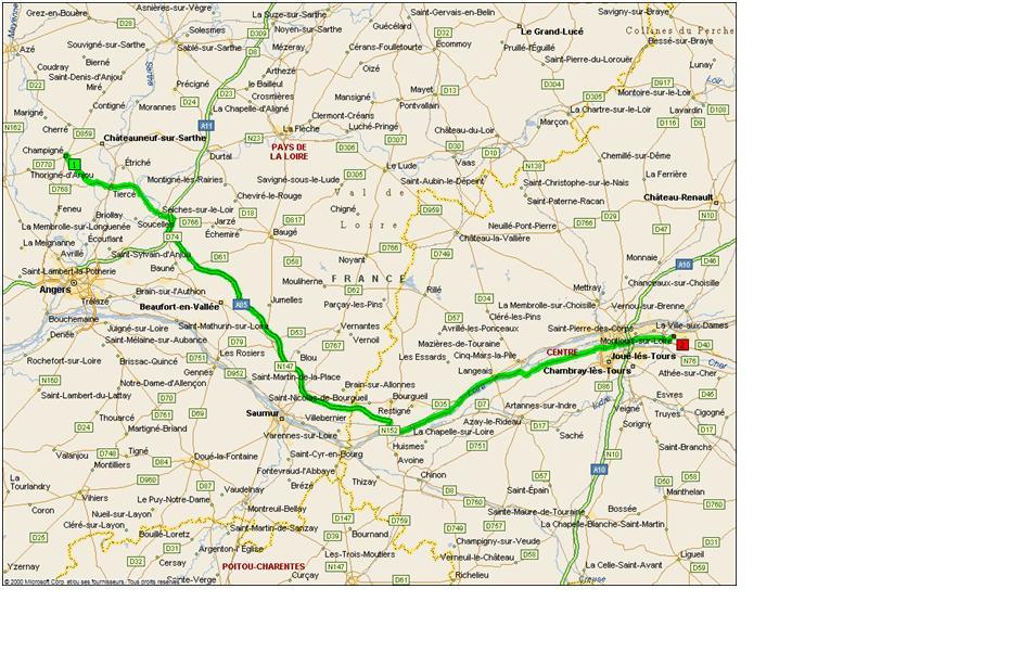 Карта маршрута от Бриоттьер до